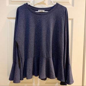 PLEIONE Navy Ruffled Hem Sweater Top Size L